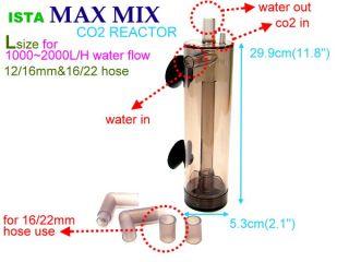 Ista Max Mix CO2 Reactor Diffuser L 12 16mm Aquarium Tank Plants Atomizer