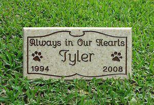 Custom Engraved Pet Memorial Headstone Cat or Dog Grave Garden Marker Plaque