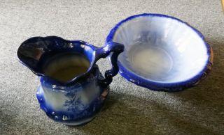 Antique Vintage Flow Blue Porcelain Pitcher Bowl Set Rose Flower Pattern England