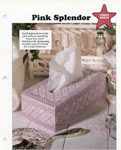 Pink Splendor Tissue Box Cover Plastic Canvas Pattern Leaflet