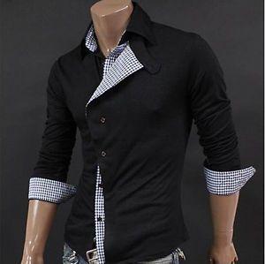 2012 New South Korea Men's Slim Fit Casual Dress Shirts M L XL Irregular Front