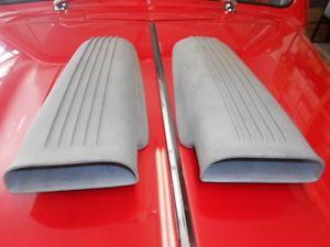 Cal Custom Finned Aluminum Hood Scoop Scoops Pair Air Hot Rod Rat Gasser 10 20