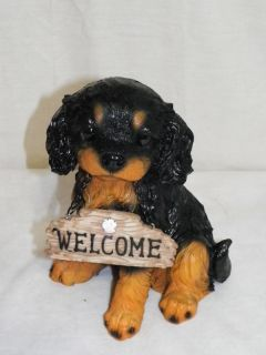 """New King Charles Spaniel Dog Puppy Welcome Sign Decoration Statue Figure 8 5"""""""