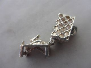 Vintage English Charm c1960 Sterling Silver Opening Rabbit Bunny in Hutch