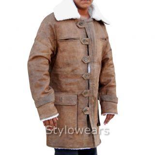 Mens 'Bane' The Dark Night Rises Distressed Crocodile Trench Leather Coat Jacket