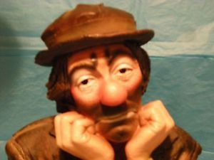 1987 Emmett Kelly Jr Sad Clown Statue Chalk Ware Mfg by Esco A Beautiful Find