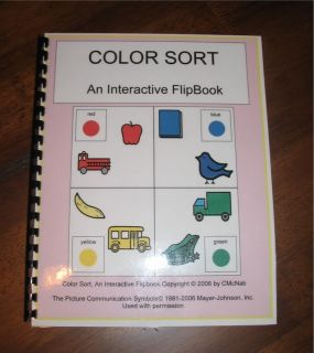 Interactive Workbook Colors Autism Pecs Speech School