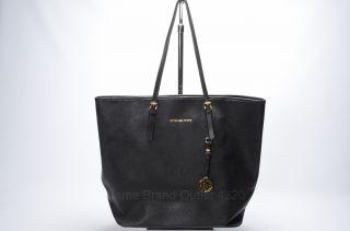Michael Kors Black Leather Jet Set Travel Signature MK Logo Tote Purse Bag $298