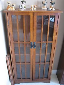 Solid Wood Media Cabinet DVD CD Mission Style Glass Doors Cherry Finish