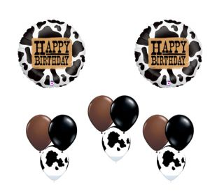 Holstein Cow Happy Birthday Western Farm Country Balloon Party Set Mylar Latex