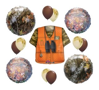 Hunting Vest Camouflage Camo Deer Hunter Birthday Balloon Party Supply Set Kit