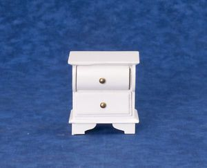 Dollhouse Miniature White Wood Nightstand Bed Stand Bedroom Furniture New