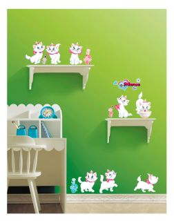 Marie Cat Kids Nursery Room Adhesive Removable Wall Decor Accents Stickers Decal