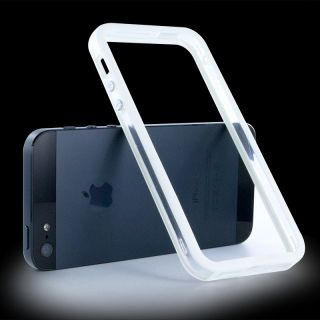 Fashion Clear White Bumper Frame Silicone TPU Case for iPhone 5 with Side Button