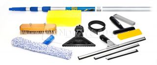 Ettore Universal Window Cleaning Washing Kit with Squeegees Scrapers Pole