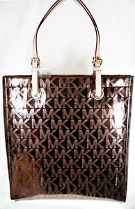Michael Kors Monogram Mirror Metallic North South Tote Shiny Bling Cocoa