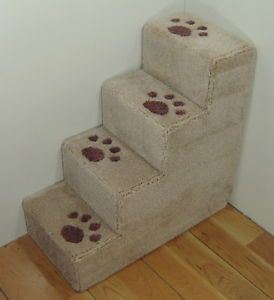 """24"""" Tall x 12"""" Wide Dog Steps Small Pet Steps Stairs Wooden Carpet USA Made"""