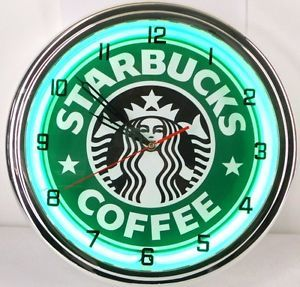 "Starbucks Coffee 15"" Neon Wall Clock Light Espresso Shop Advertising Cafe Sign"