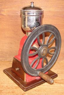 Vintage Tabletop Cast Iron Single Wheel Coffee Grinder