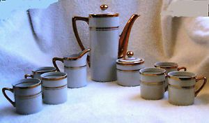 Coffee Espresso Set 6 Cups Cream Sugar Coffee Pot Empire Porcelaine 1068 Vintage
