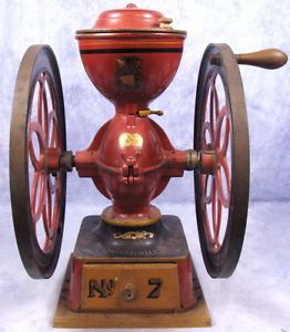"Antique 1898 Enterprise Double Wheel Coffee Grinder No. 7, 24"" Tall"