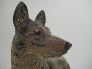 Cast Iron Vintage German Shepherd Dog Doorstop Hubley w Collar Rin Tin Tin