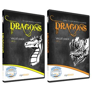Dragons Clipart Vinyl Cutter Plotter Clip Art Vector CD
