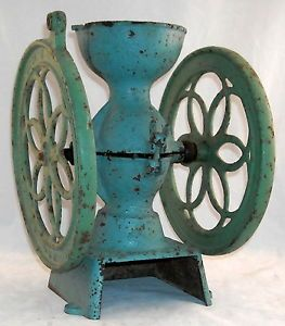 Antique Enterprise Cast Iron Double Wheel Coffee Grinder 2 Patent Date 1873