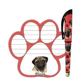 New Paw Print Sticky Note and Pen Set Breed Specific Pug