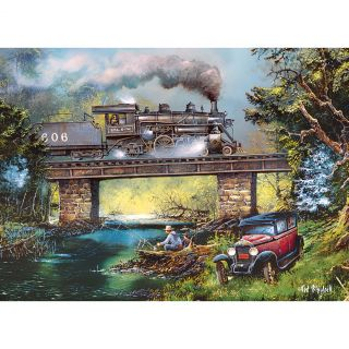 New One Thousand Piece Scenic Steam Engine and Man Fishing Puzzle