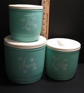Vintage Aqua Teal Blue Canister Set 3 Sugar Coffee Tea Mid Century Retro