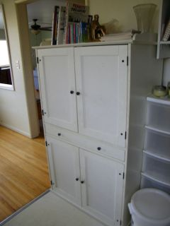 ... White IKEA Computer Armoire Hutch Desk Used ...