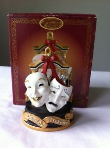 San Francisco Music Box Co Musical Ornament Comedy Tragedy Masks Used