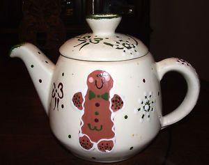 Frankoma Pottery Christmas Gingerbread Man Woman Coffee Pot Tea Pot 2001