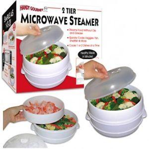 Handy Gourmet 2 Tier Microwave Steamer Food Cooker Vegtables Fish Shrimp Healthy