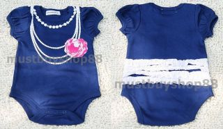 Baby Toddler Girl Necklace Flower Print Costume Tutu Blue One Pieces 3 18 Months
