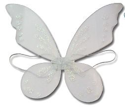 "White Fairy Pixie Wings Tinkerbell 19""x23"" Costume New"
