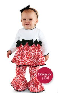 Mud Pie Diva Girls Damask Minky Cotton Top Dress Flared Disco Pants Set 0 5T
