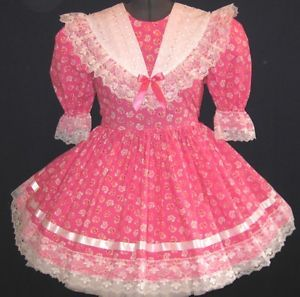 Pretty in Pink Flowers Adult Baby Sissy Dress Made to Fit Leanne