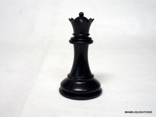 "3 1 8"" Queen Black Chess Piece 2 3oz Weighted Quality Plastic"