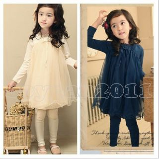 New Kids Toddlers Girls Princess Long Sleeve Lace Skirt Dress Age 2 7Y