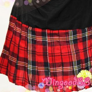 Women Sexy School Girl Black Red Plaid Mini Dress Lingerie Club Wear Costume