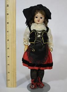"Small 10"" French Composition Doll w Ethnic Costume Marked ""Paris 7"""
