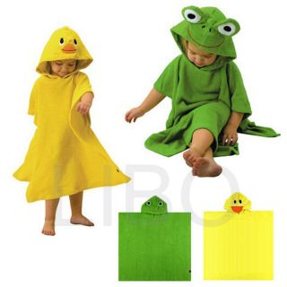 Baby Cartoon Animal Dressing Gown Splash Wrap Kids Bath Hooded Towel Bathrobe