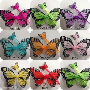"""Butterfly Wings Monarch 2pc Set 14""""x18"""" Double Layer Fairy Angel Infant Costume"""
