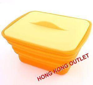 Silicone Small Microwave Oven Cooker Steamer Collapsible Case Box Orange H30C