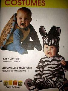 McCalls Sewing Pattern 7861 Baby Toddler Costumes Zebra Turtle 1 2 2 Uncut