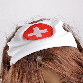 Sexy Women Lady Lingerie Open Front Backless Costume Nurse Suit Dress Hat Set