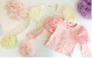 New Kids Toddlers Girls Lovely Cotton Chiffon Flower Top Shirts Age 1 6Years