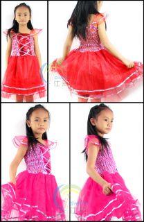 Kids Girls Princess Tutu Dress Party Skirt Costume Blue Pink Green Yellow 3 4Y